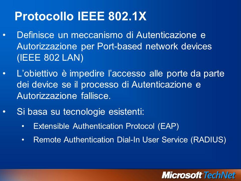 Protocollo IEEE 802.1XDefinisce un meccanismo di Autenticazione e Autorizzazione per Port-based network devices (IEEE 802 LAN)