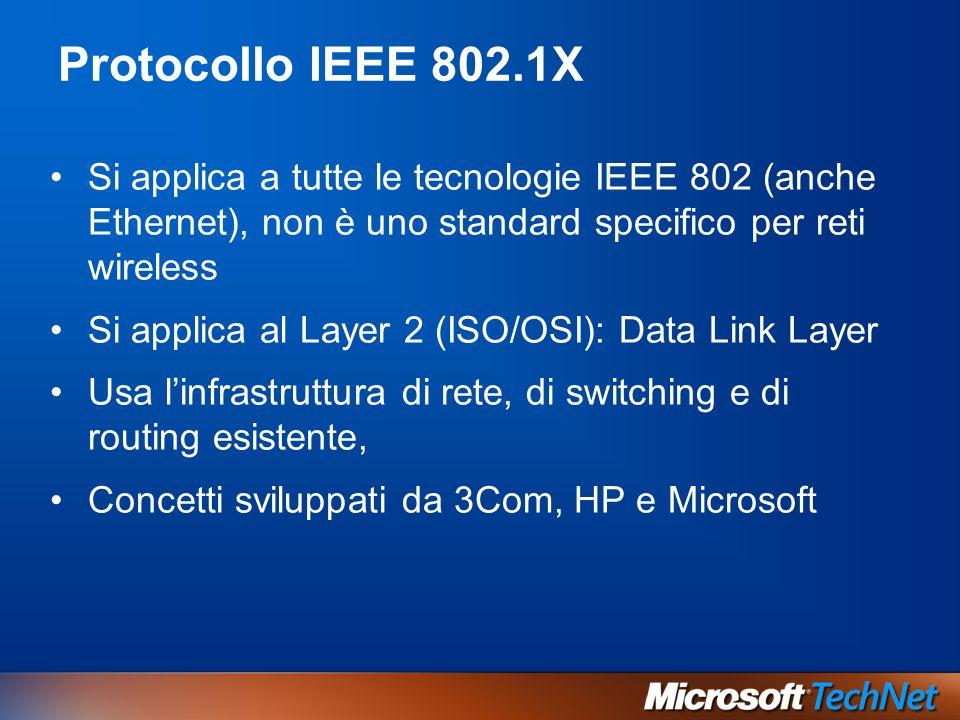 Protocollo IEEE 802.1XSi applica a tutte le tecnologie IEEE 802 (anche Ethernet), non è uno standard specifico per reti wireless.