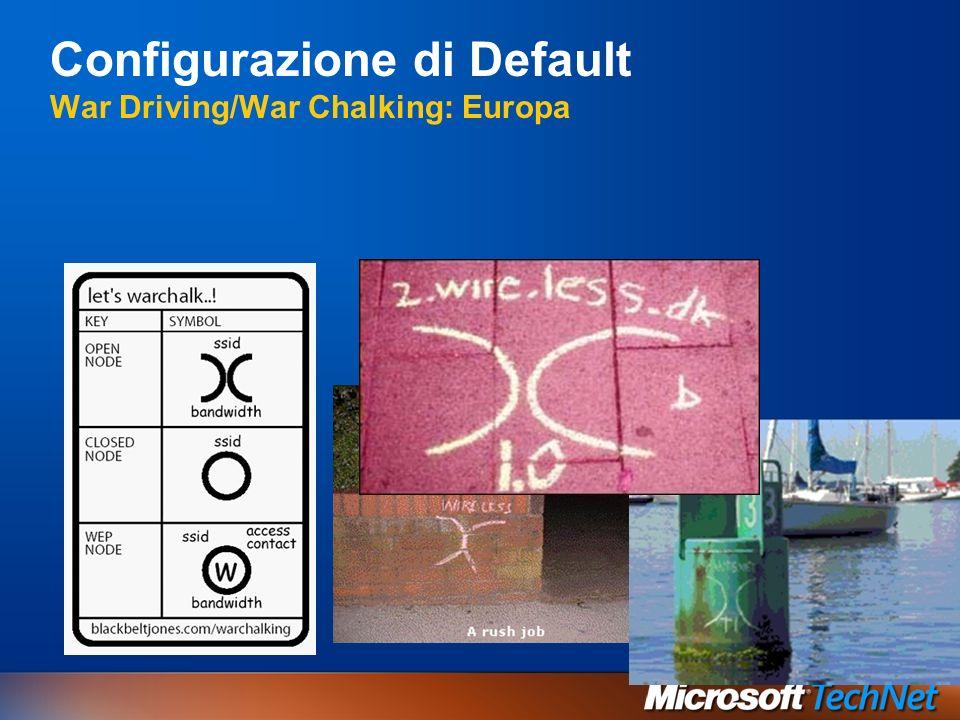 Configurazione di Default War Driving/War Chalking: Europa