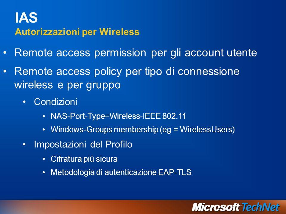 IAS Autorizzazioni per Wireless