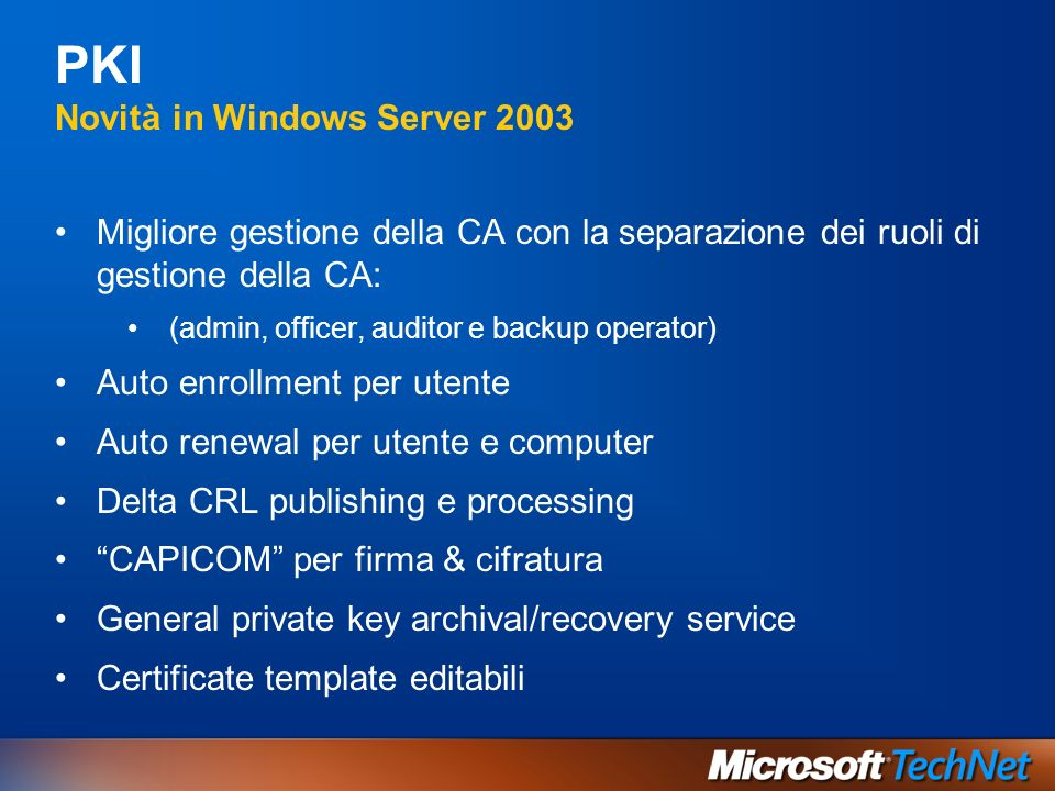 PKI Novità in Windows Server 2003