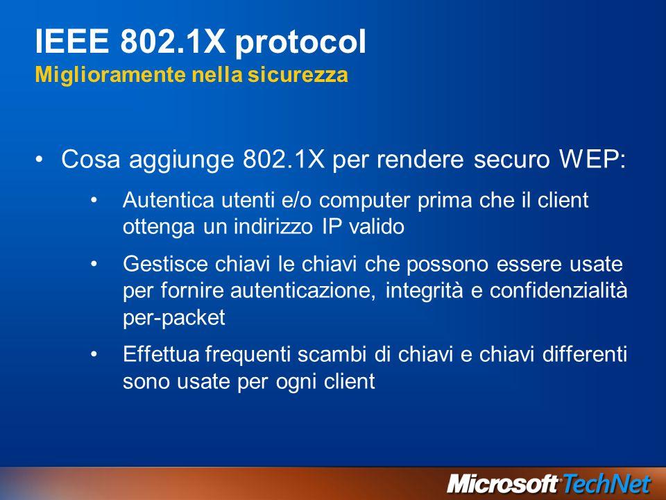 IEEE 802.1X protocol Miglioramente nella sicurezza