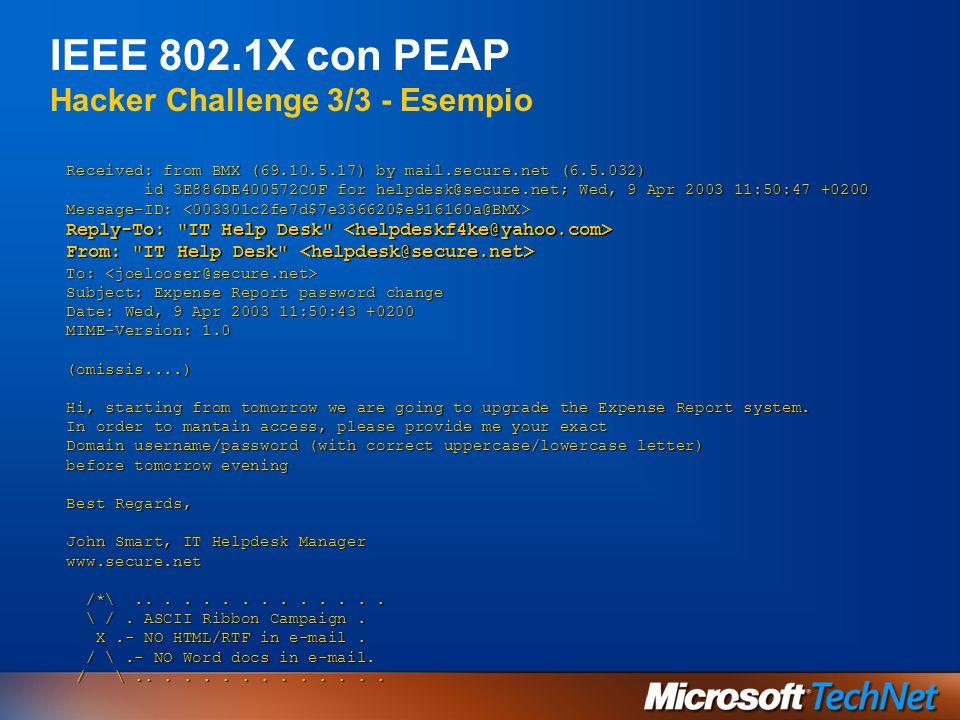 IEEE 802.1X con PEAP Hacker Challenge 3/3 - Esempio