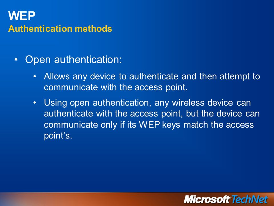 WEP Authentication methods