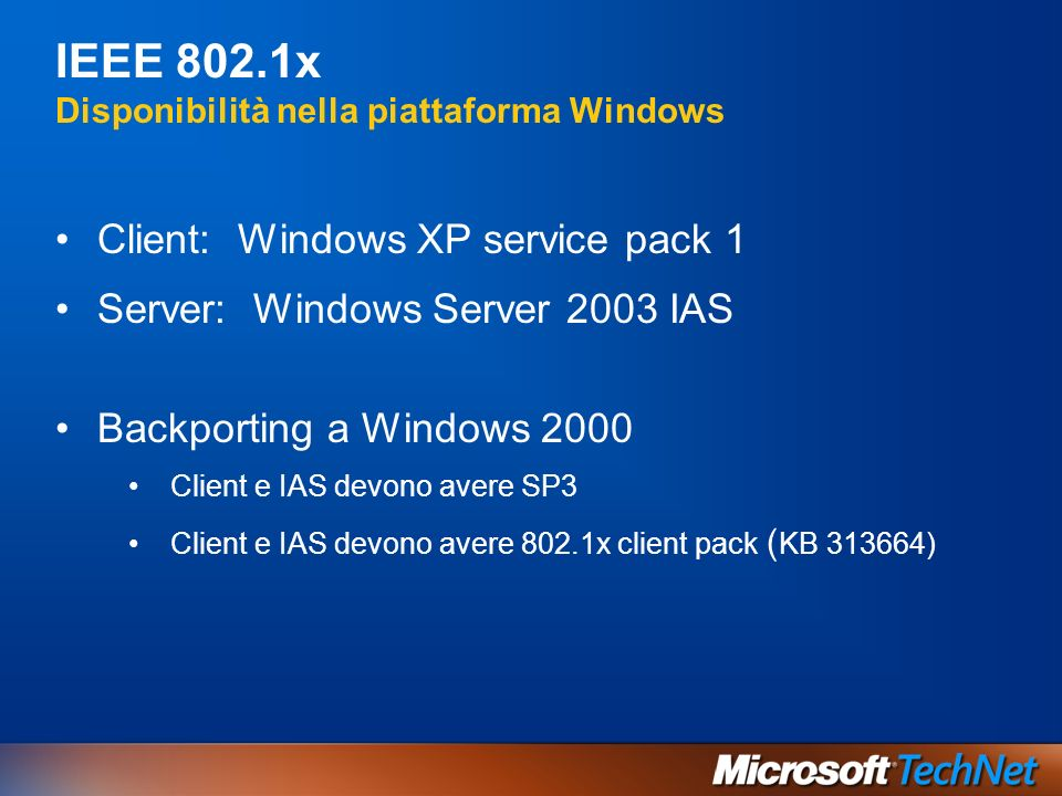 IEEE 802.1x Disponibilità nella piattaforma Windows