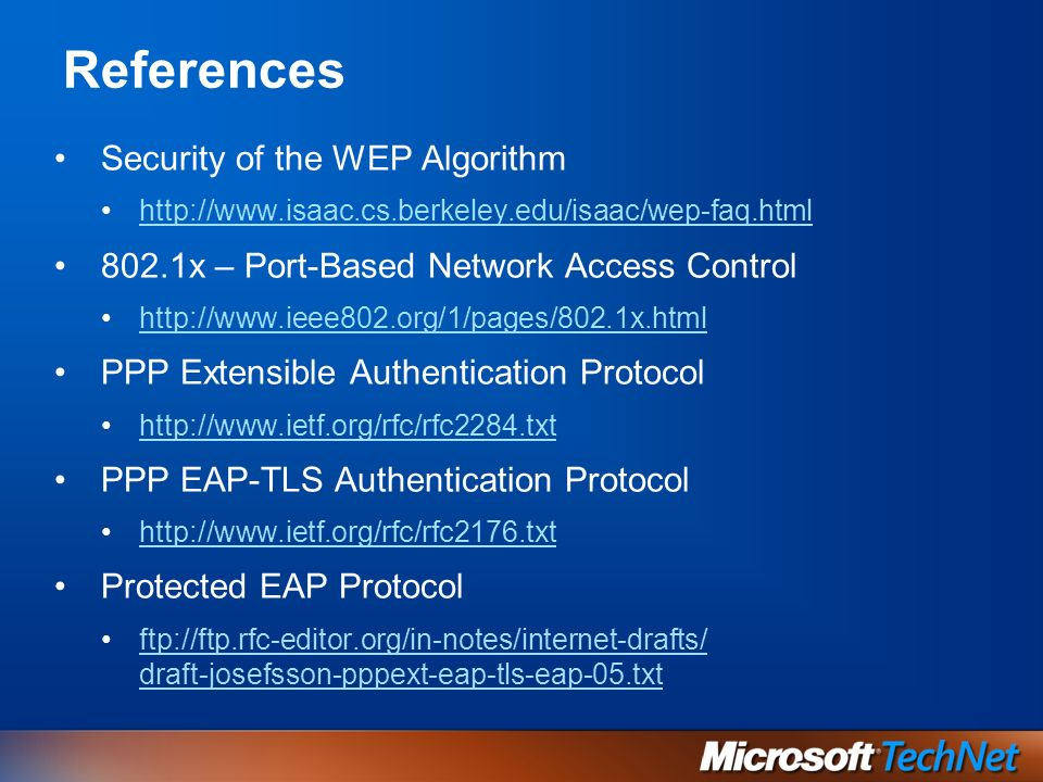References Security of the WEP Algorithm