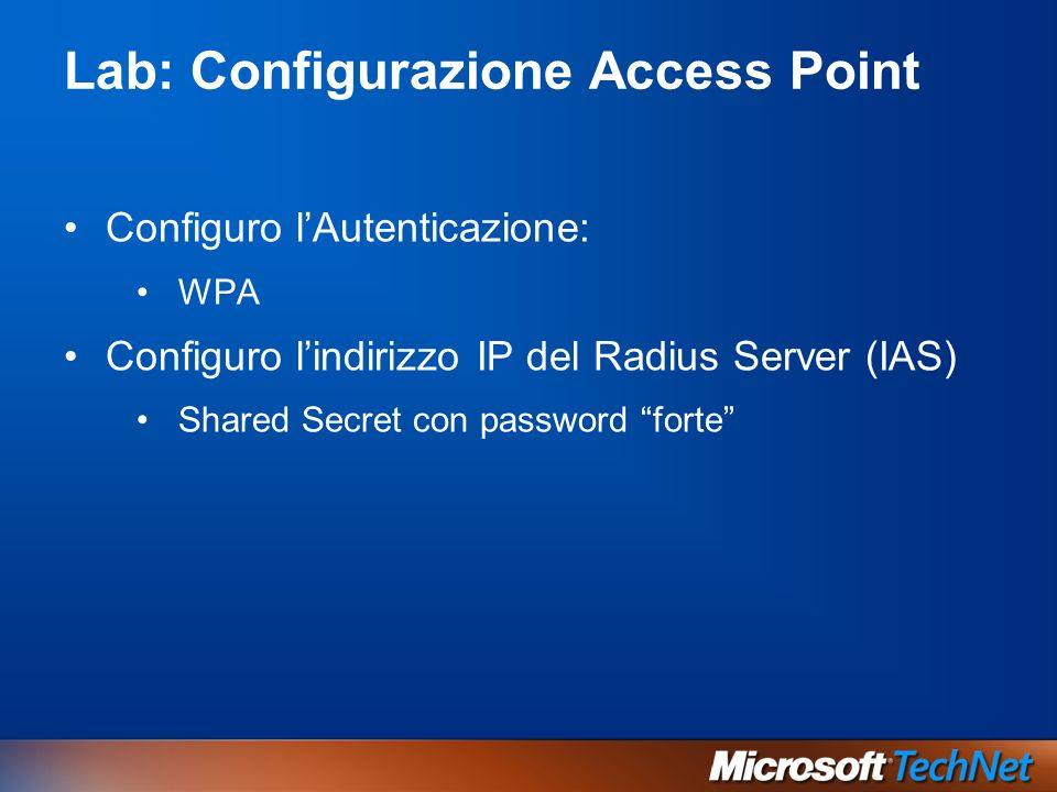 Lab: Configurazione Access Point
