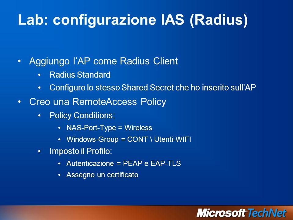Lab: configurazione IAS (Radius)