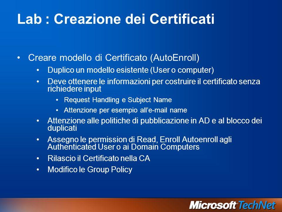 Lab : Creazione dei Certificati