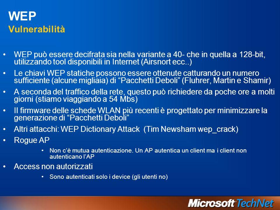 WEP Vulnerabilità