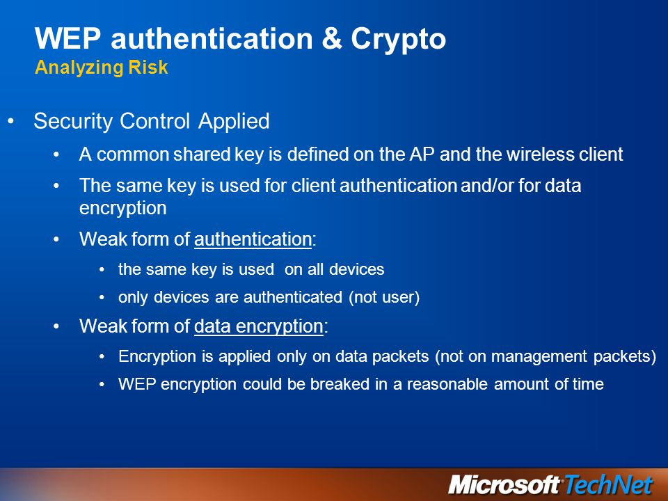 WEP authentication & Crypto Analyzing Risk