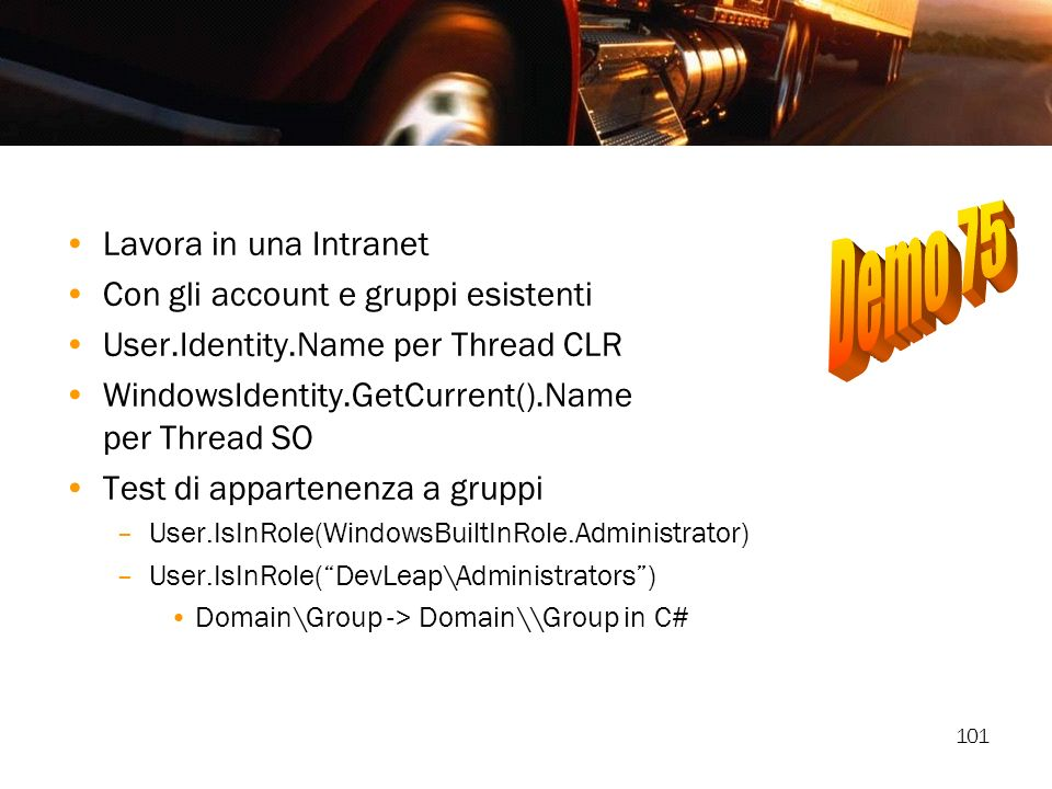 Demo 75 Lavora in una Intranet Con gli account e gruppi esistenti