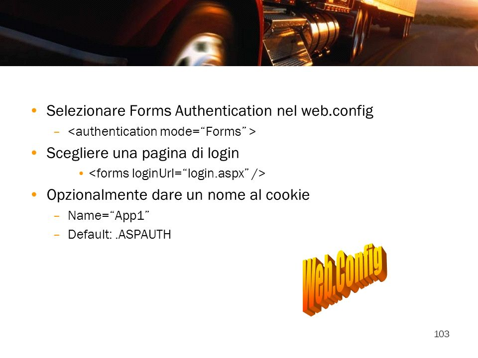 Web.Config Selezionare Forms Authentication nel web.config