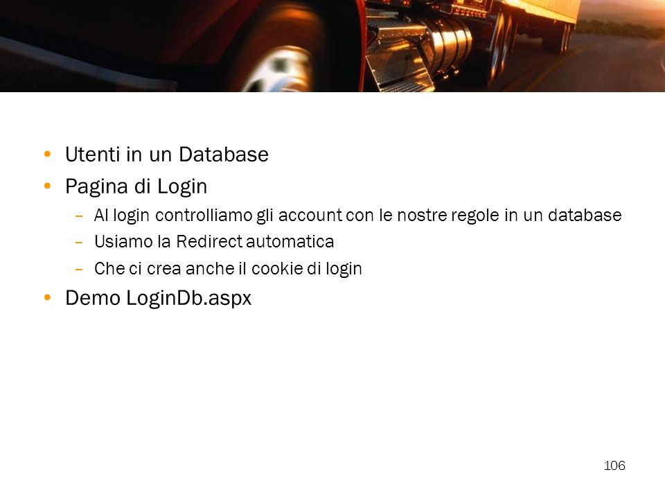 Utenti in un Database Pagina di Login Demo LoginDb.aspx