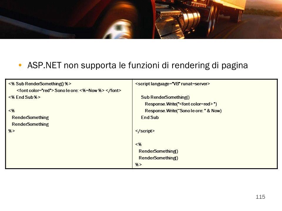 ASP.NET non supporta le funzioni di rendering di pagina