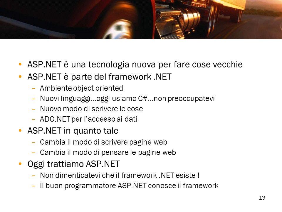ASP.NET è una tecnologia nuova per fare cose vecchie