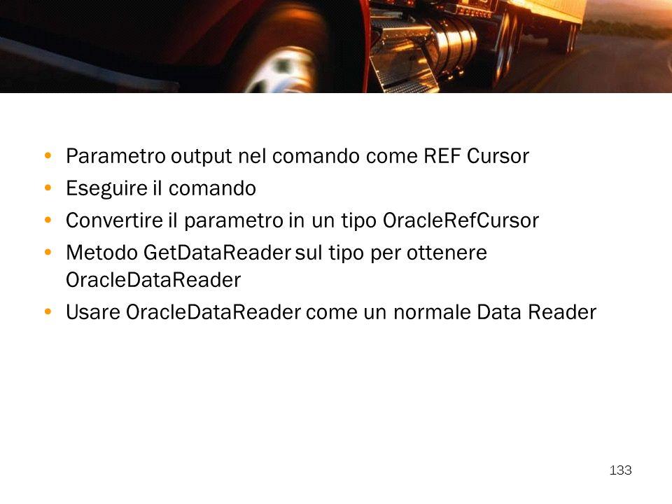 Parametro output nel comando come REF Cursor
