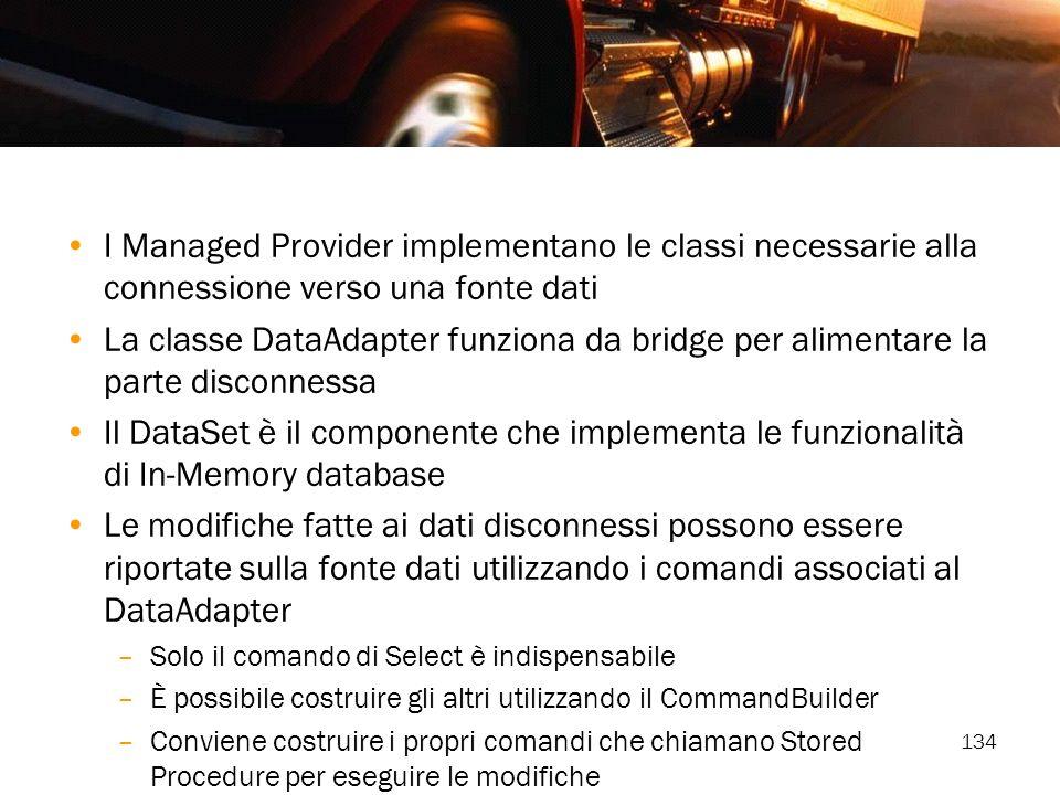 I Managed Provider implementano le classi necessarie alla connessione verso una fonte dati