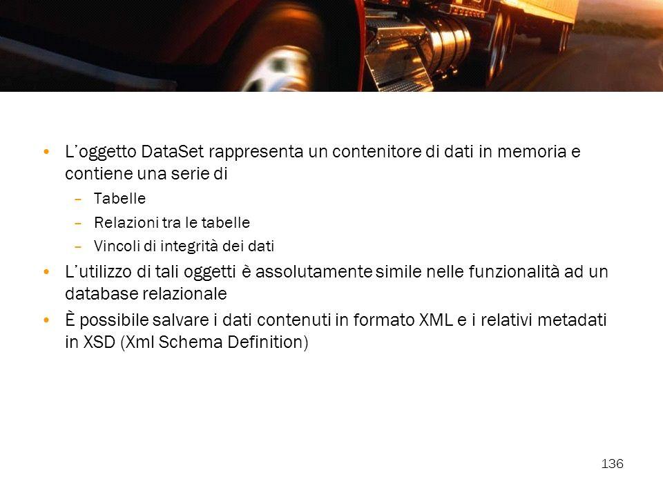 L'oggetto DataSet rappresenta un contenitore di dati in memoria e contiene una serie di