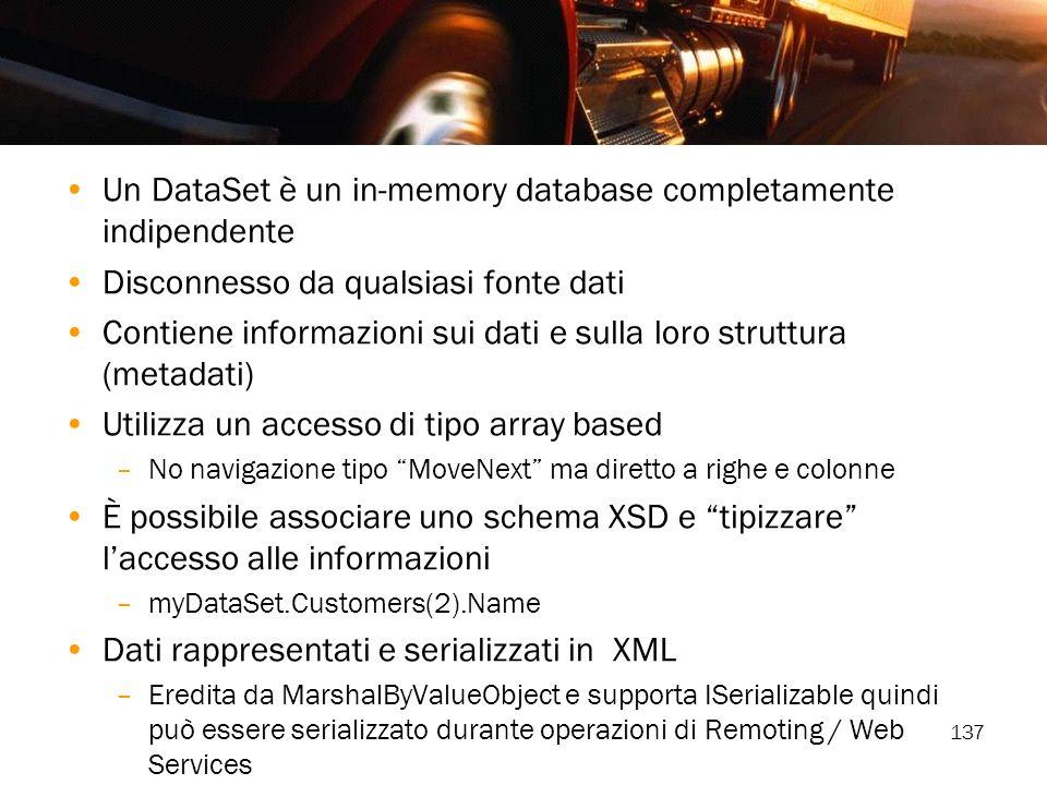 Un DataSet è un in-memory database completamente indipendente