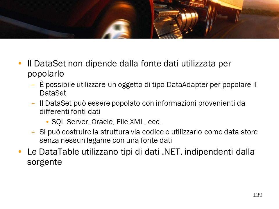 Il DataSet non dipende dalla fonte dati utilizzata per popolarlo