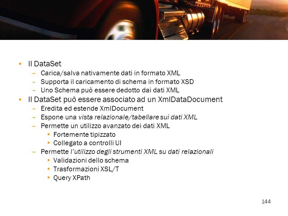 Il DataSet può essere associato ad un XmlDataDocument