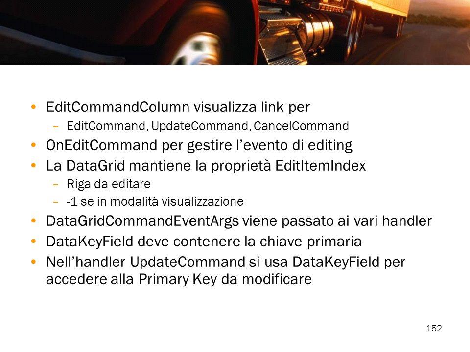 EditCommandColumn visualizza link per