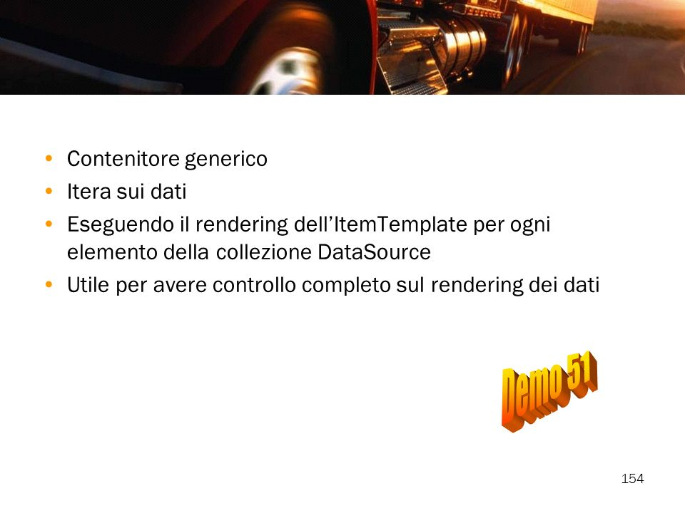 Demo 51 Contenitore generico Itera sui dati