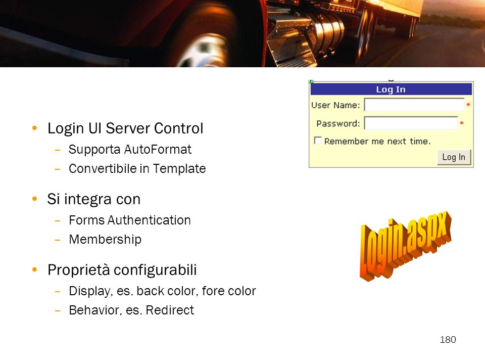 Login.aspx Login UI Server Control Si integra con