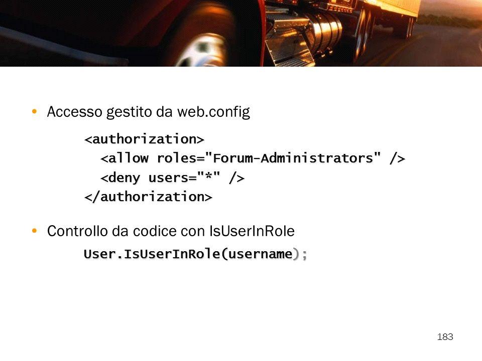 Accesso gestito da web.config