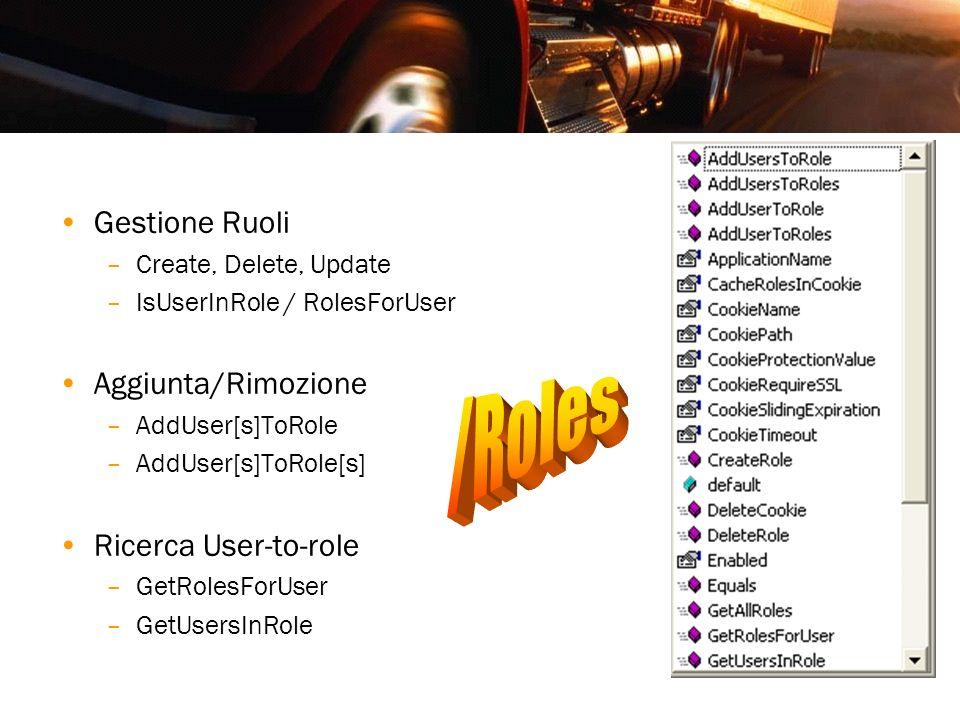/Roles Gestione Ruoli Aggiunta/Rimozione Ricerca User-to-role