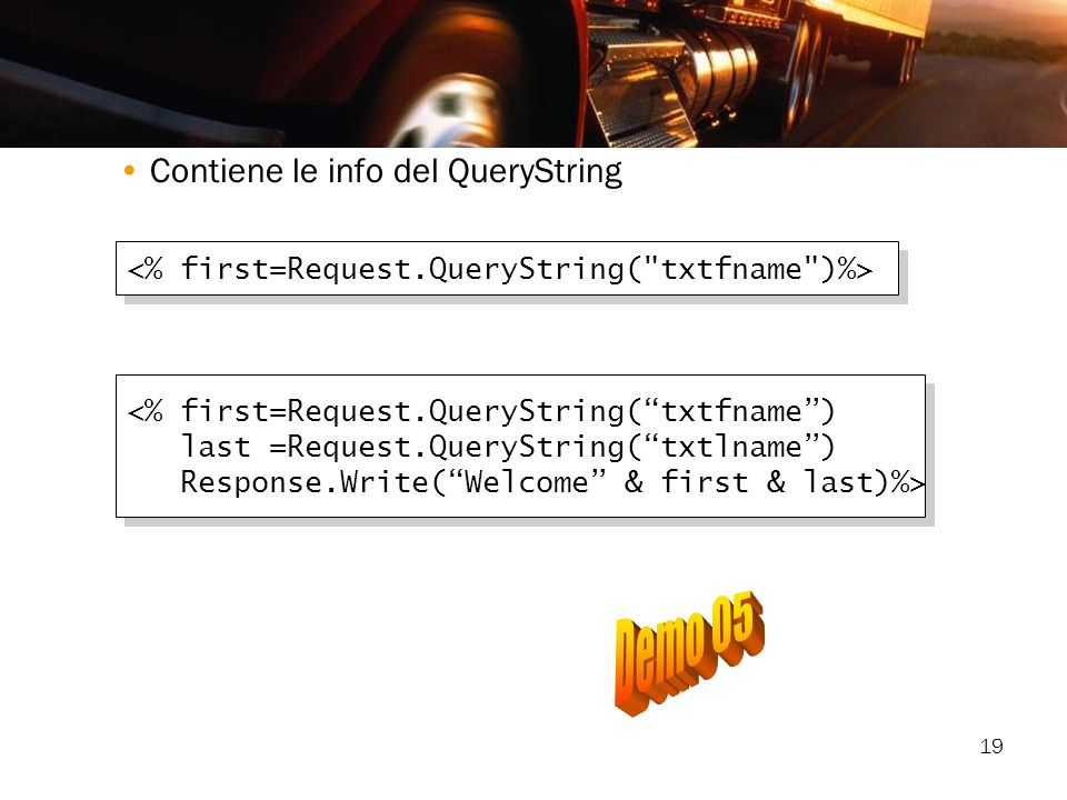 Demo 05 Contiene le info del QueryString