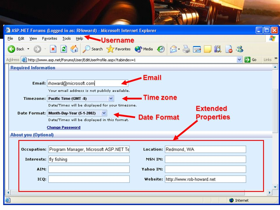 Username Email Time zone Extended Properties Date Format
