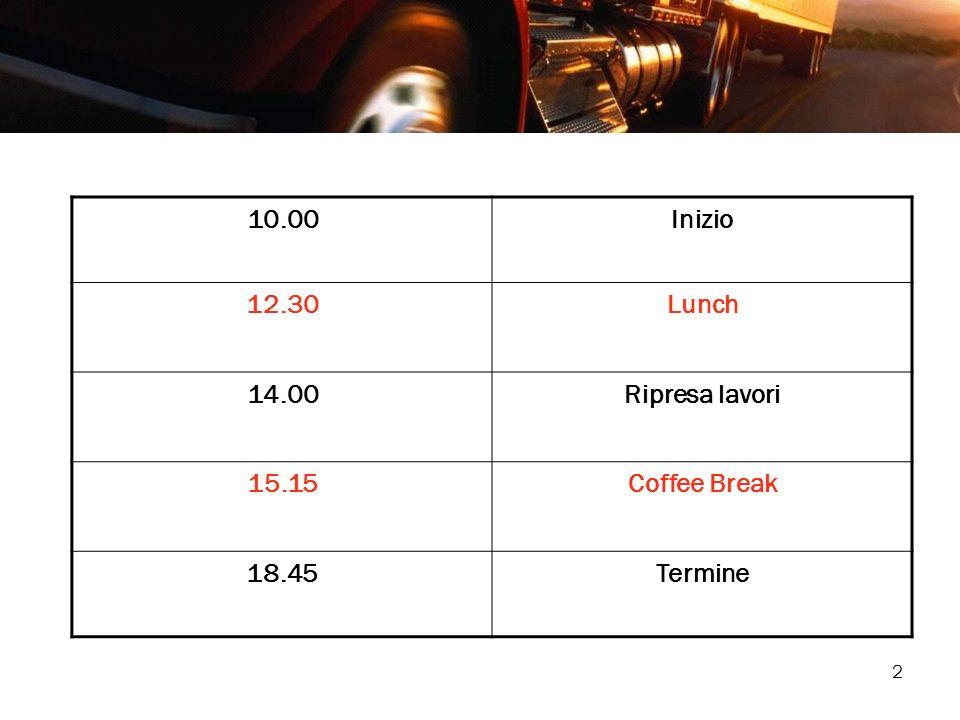 10.00 Inizio 12.30 Lunch 14.00 Ripresa lavori 15.15 Coffee Break 18.45 Termine
