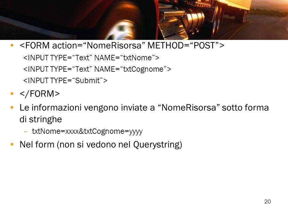 <FORM action= NomeRisorsa METHOD= POST >