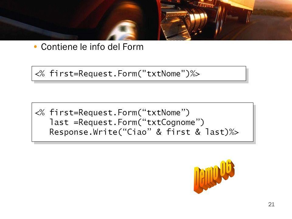 Demo 06 Contiene le info del Form