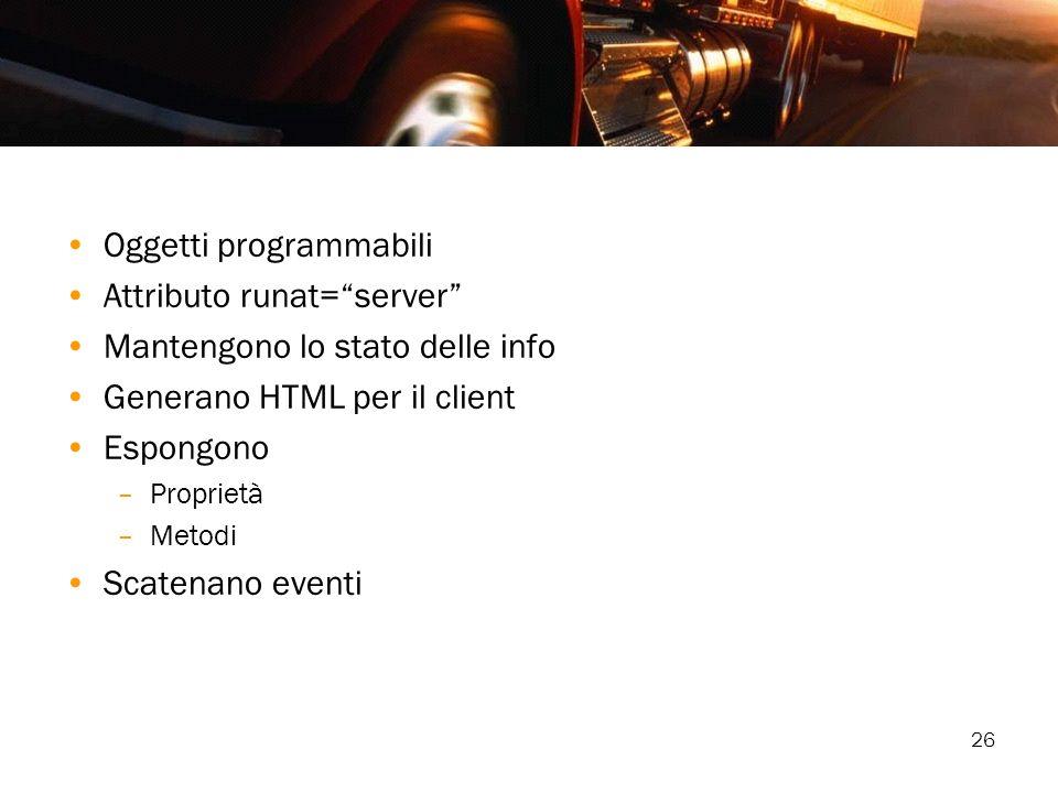Oggetti programmabili Attributo runat= server
