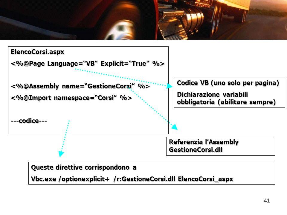 ElencoCorsi.aspx<%@Page Language= VB Explicit= True %> <%@Assembly name= GestioneCorsi %> <%@Import namespace= Corsi %>