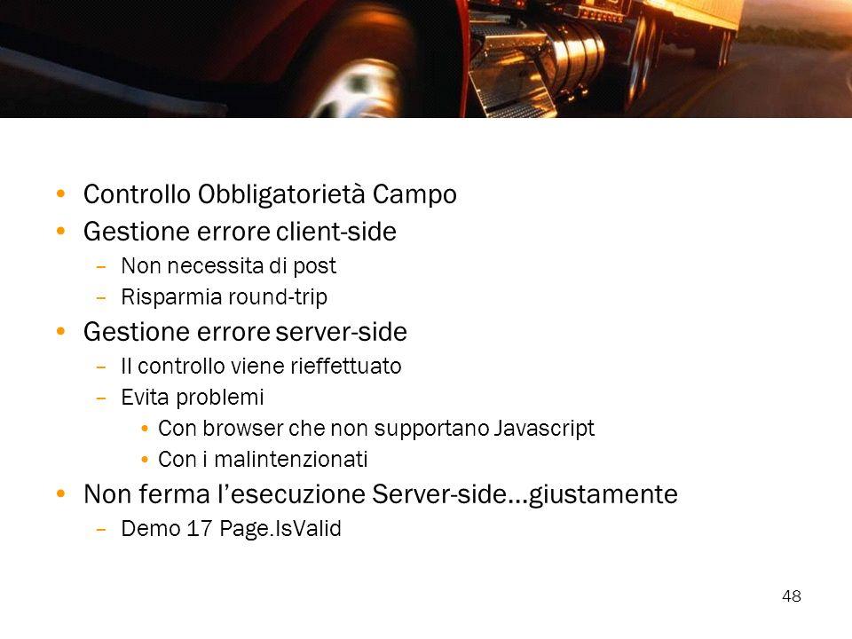 Controllo Obbligatorietà Campo Gestione errore client-side