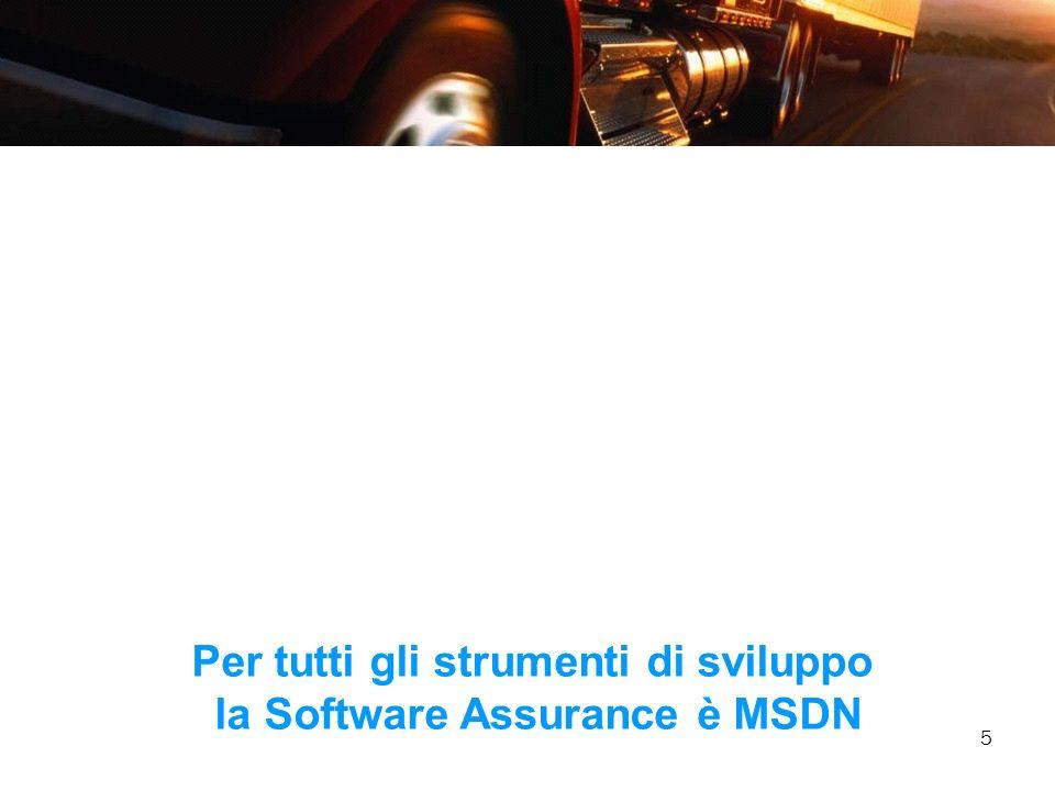 Per tutti gli strumenti di sviluppo la Software Assurance è MSDN
