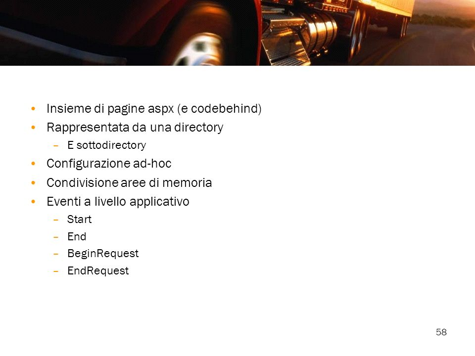 Insieme di pagine aspx (e codebehind) Rappresentata da una directory