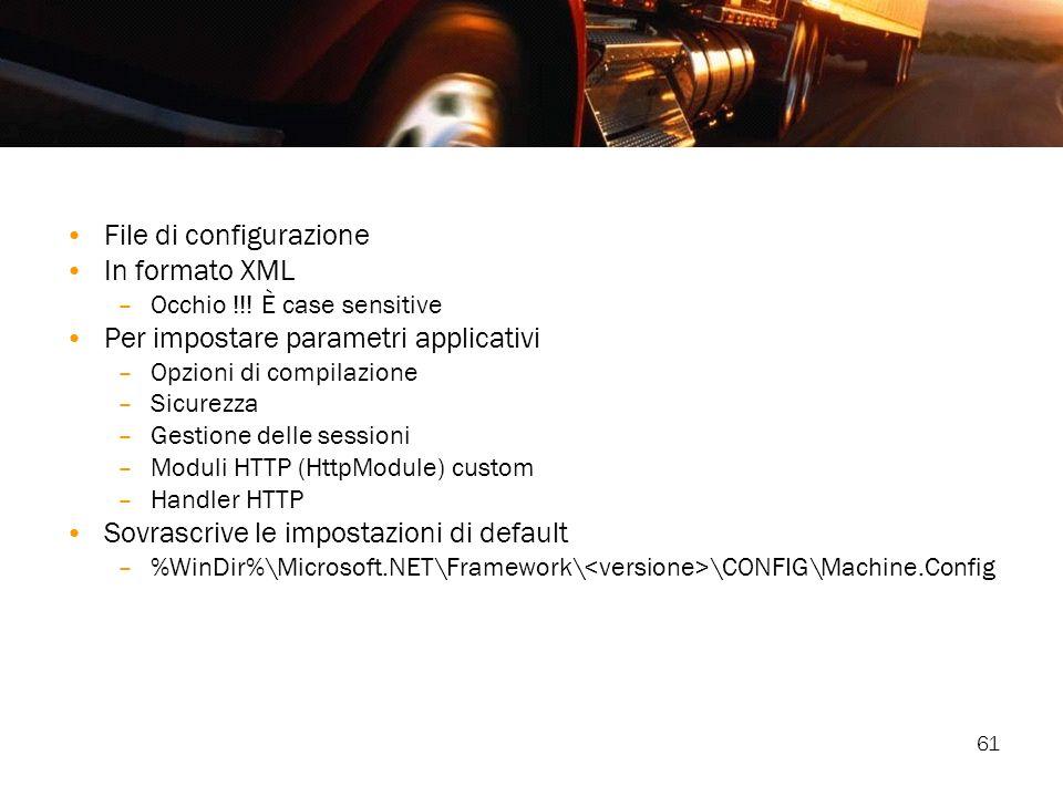 File di configurazione In formato XML