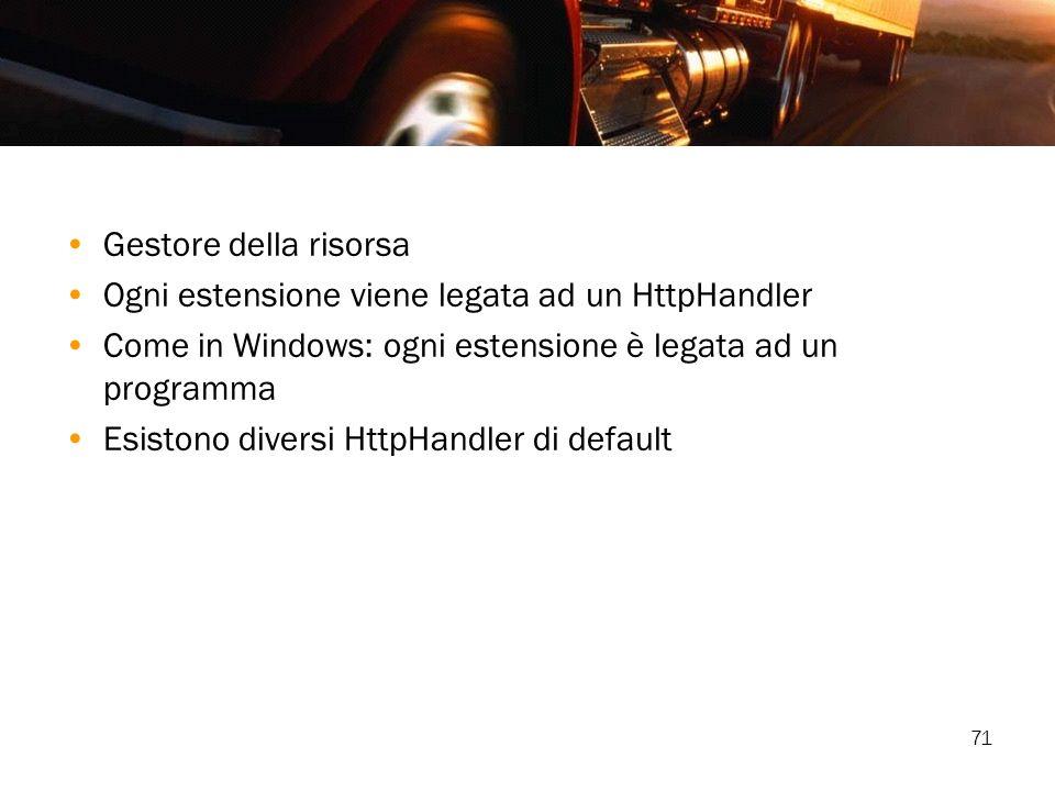 Gestore della risorsa Ogni estensione viene legata ad un HttpHandler. Come in Windows: ogni estensione è legata ad un programma.