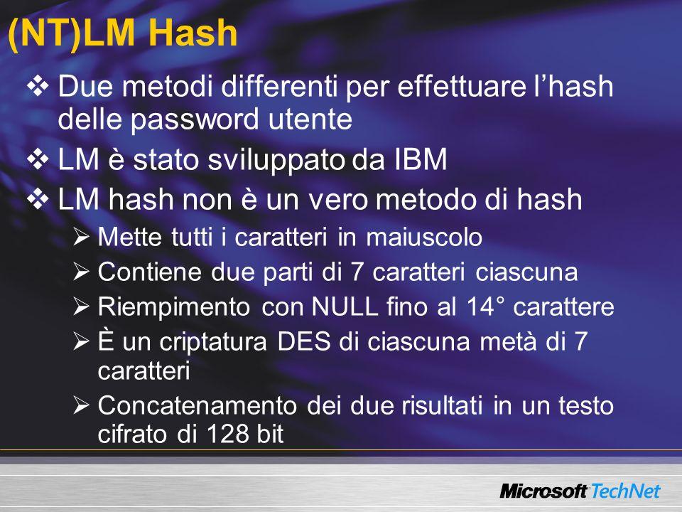 (NT)LM Hash Due metodi differenti per effettuare l'hash delle password utente. LM è stato sviluppato da IBM.