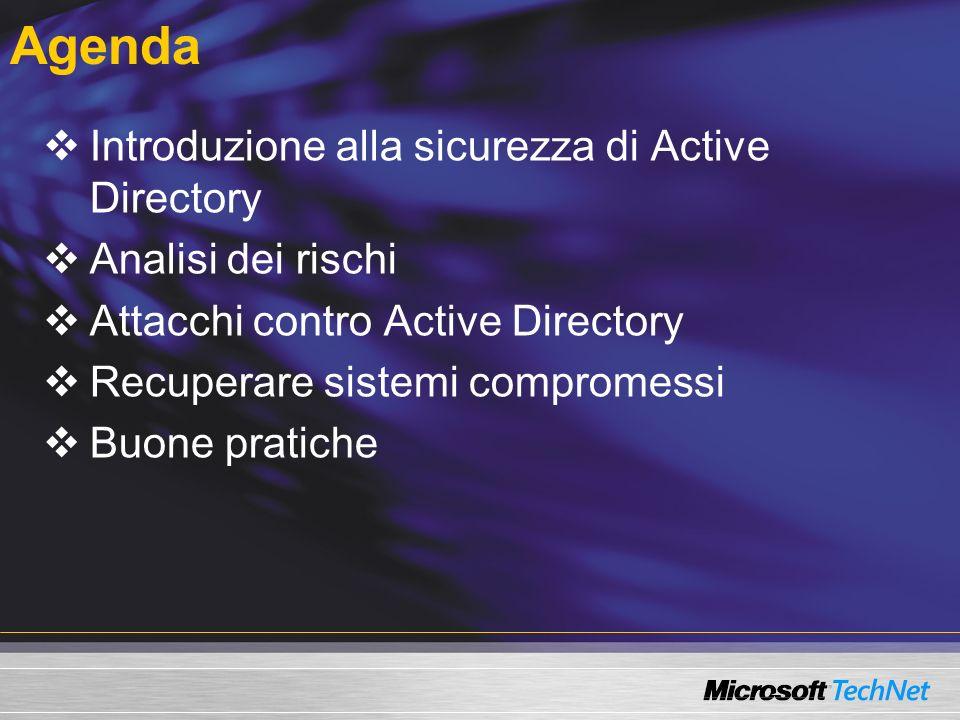 Agenda Introduzione alla sicurezza di Active Directory