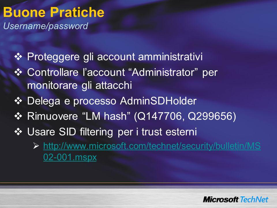 Buone Pratiche Username/password