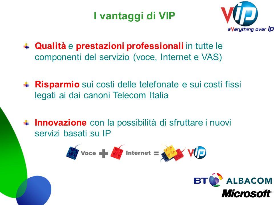 I vantaggi di VIP Qualità e prestazioni professionali in tutte le componenti del servizio (voce, Internet e VAS)