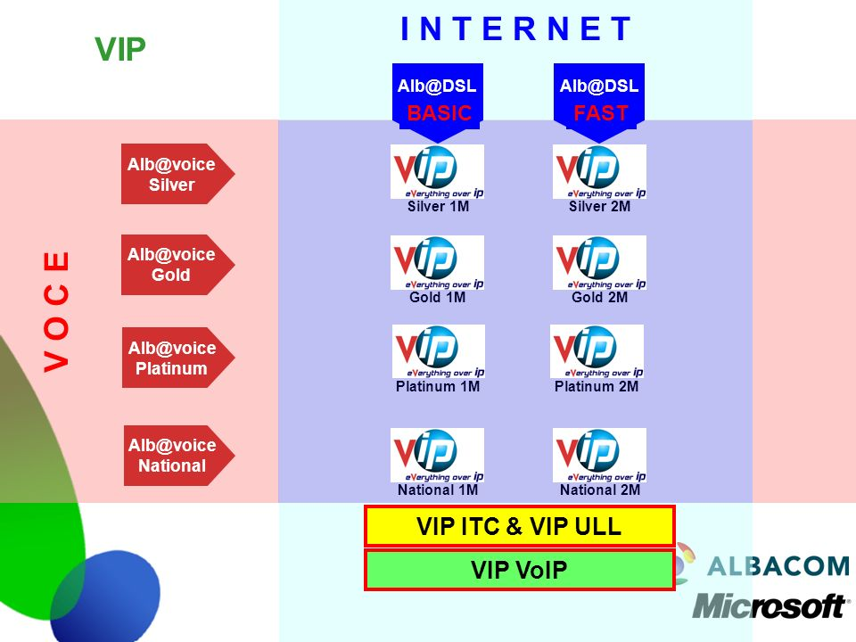 I N T E R N E T VIP V O C E VIP ITC & VIP ULL VIP VoIP BASIC FAST