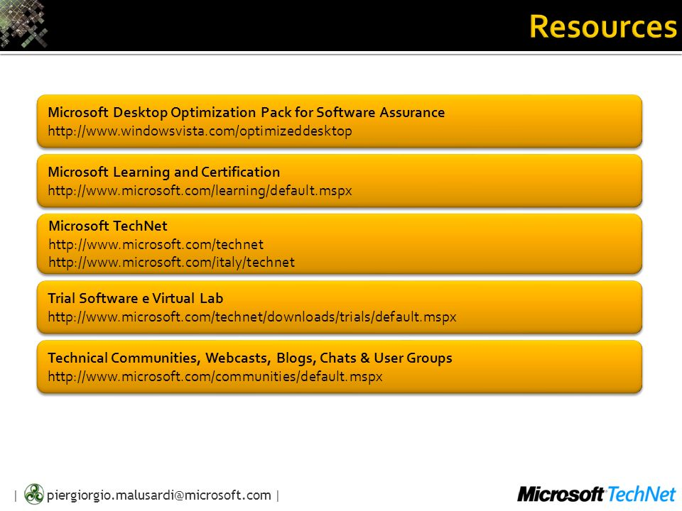 Resources Microsoft Desktop Optimization Pack for Software Assurance