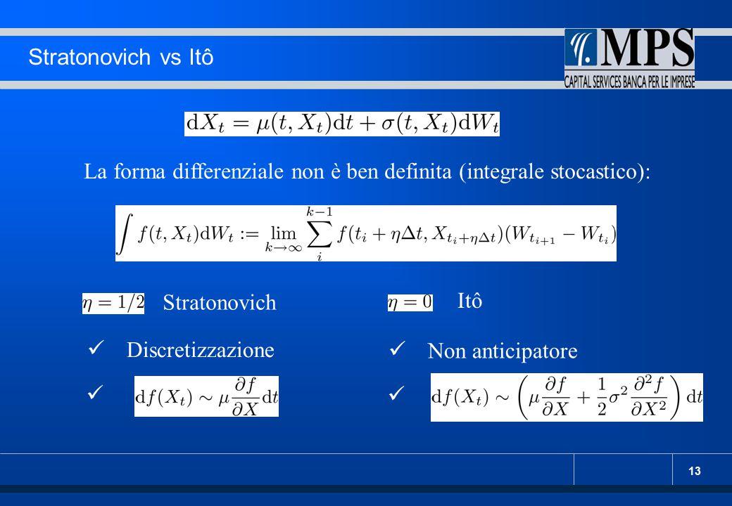 Stratonovich vs Itô La forma differenziale non è ben definita (integrale stocastico): Stratonovich.